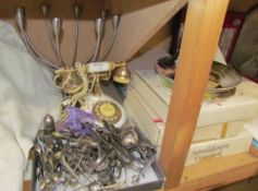 A candelabra together with assorted electroplated flatwares, collectors plates,