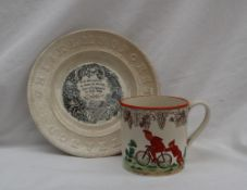 A Wedgwood creamware mug transfer decorated with vine laves and grapes,
