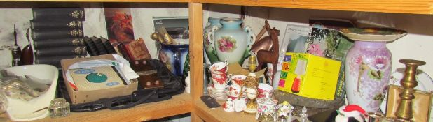 Brass candlesticks together with dolls, a Paragon part tea set, cruet, pottery vases, tie press,