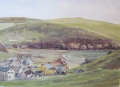John Challis Hope Cove Watercolour Together with a pastel,