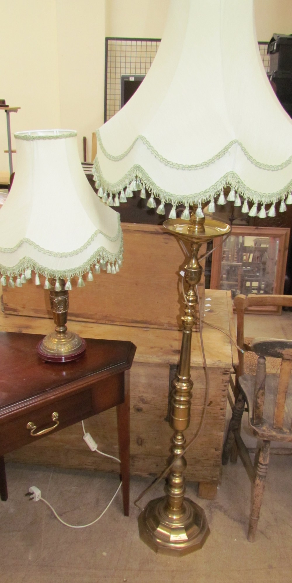 Lot 55 - A brass standard lamp together with another brass standard lamp