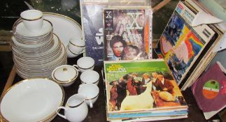 Czechoslovakian white and gilt part dinner set together with various comics,