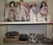 Assorted collectors dolls together with records, an Ironstone part tea set,