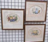 A set of three 19th century watercolours of floral specimens together with a collection of