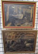W Salton The Collier 1930's Oil on board Signed and label verso Together with another Pit Pals