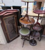 A reproduction mahogany hanging corner cupboard together with reproduction wine tables,