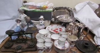 A collection of Nao figures, together with Spode jewel dinner plates, a bone china part coffee set,