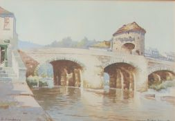 Edward J Mayberry (20th century) Monnow Bridge,