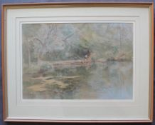 "Arthur Miles (1905 - 1987) ""Artist at Synt y Nyll Pond"" Signed and dated 1981 Watercolour and"