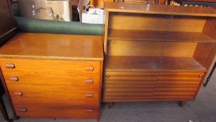 A Stag teak chest of drawers together with a teak bookcase