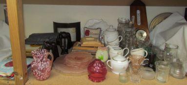 A barometer together with an Elizabeth II Golden Jubilee part tea set, glasses, glass vases,