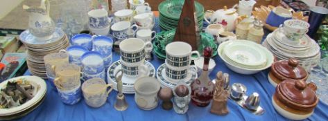 A blue and white part tea set together with assorted tea cups, part tea set, drinking glasses,