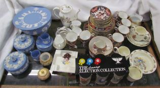 Wedgwood jasper wares together with an Imari part tea set, Poole pottery ashtray,