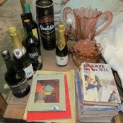 A bottle of Glenfiddich together with other bottles, children's books, miniature spinning wheel,