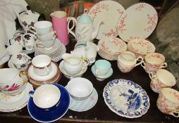 A Royal Albert Masquerade part tea set together with a Tuscan part tea set,