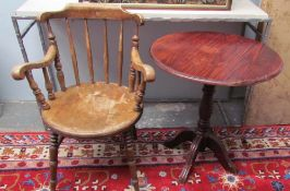A spindle back elbow chair together with a pine occasional table