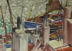 Stanley Smith Dockside Watercolour Signed Together with three other shipping related paintings