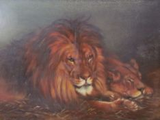 In the style of Geza Vastagh 'The British Lion' Reclining lion and lioness Copied from the Pears