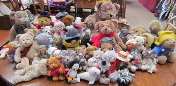 A large collection of modern teddy bears