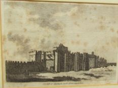 A collection of bookplates including Cardiff Castle, Llandaff Cathedral and others with framed