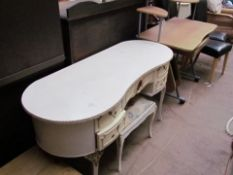 A cream dressing table together with a matching stool and a computer table, a foot stool, a copper