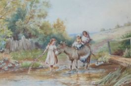 H Hammond Riding the donkey Three children with a donkey in a stream Watercolour Signed 29.5 x 45cm