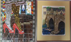 John Parkholm Legs Mosaic Together with a Geoffrey Barker screen print of Llangollen