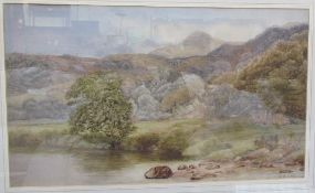 A.W. Ayling A landscape scene with a river in the foreground Watercolour Together with a
