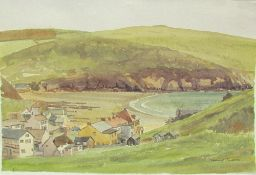 John Challis Hope Cove Watercolour Together with a pastel, an oil painting and a gilt mirror