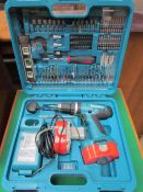 A Makita cordless drill, two batteries and accessories (sold as seen, untested)