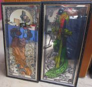After Mucha, a set of four mirrors decorated with female figures for Spring, Summer, Autumn and