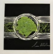 Laura Wallace Abstract Mixed media of glass and oil paints Signed in silver pen 39.5 x 39.5cm