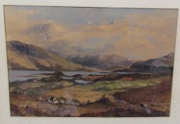 A.G. Dunbar A landscape scene Watercolour Signed Together with a map and a print