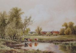 Henry H Parker Cattle watering Watercolour Signed Together with two Richard Tearoe oil paintings