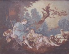 A shepherd and reclining shepherdess with sheep Oil on board