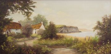 S Heath Cottage by the sea Oil on canvas Together with five other oil paintings