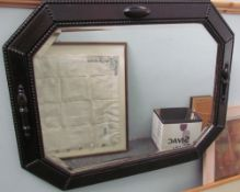 An oak framed wall mirror together with a Chinese watercolour on silk