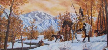American Indians in a snowy landscape Oil on board Together with a collection of pictures and