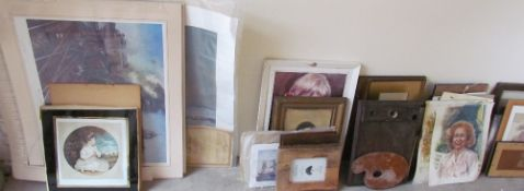 Assorted decorative prints together with assorted paintings, mirrors etc