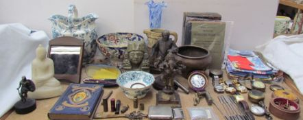 Various pocket watches together with wristwatches, tea towels, decorative figures, pens, Pope's