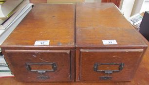 A pair of walnut record card filing cabinets