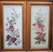 19th Century British School Still life study of a spray of garden flowers Oil on opaque glass