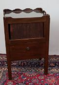 A George III mahogany night table with tray top and tambour front and pull out step commode, on