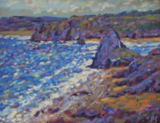 Paul Stephens The Gower Peninsula Oil on board Initialled Inscribed verso