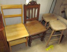 A modern oak metamorphic library chair together with a carved oak chair and a pair of stools