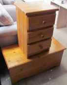 A pine bedside chest with three drawers together with a pine trunk