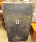 A trunk with metal fittings, initialled I.F.