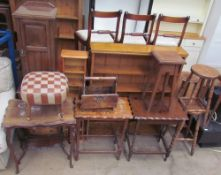 An Edwardian pot cupboard together with a mahogany side cabinet, a pine CD rack, a bookcase,