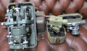A Hilger & Watts Theodolite, together with a Wild Heerbrugg tilting level, a quick set level,