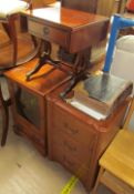 A reproduction mahogany miniature sofa table with drop flaps together with a hifi cabinet,